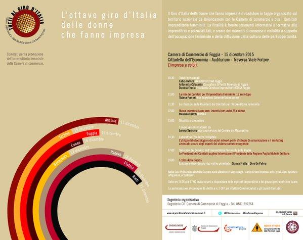 """Il programma del """"Giro d'Italia delle donne che fanno impresa"""" a Foggia"""