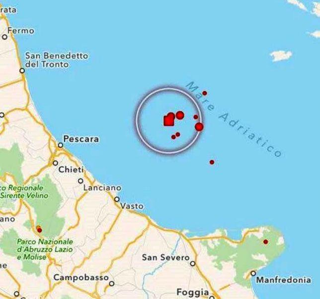 Gli epicentri dei terremoti che si sono verificati ieri nel Gargano