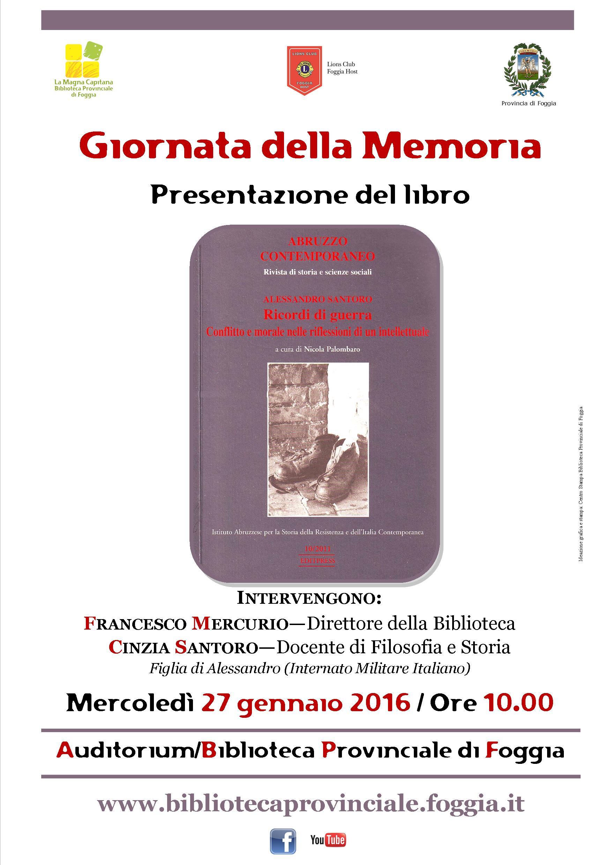 La Biblioteca Provinciale di Foggia celebra la Giornata della Memoria