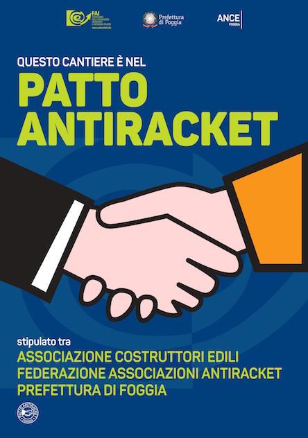 Logo antiracket esposto nei cantieri edili di Foggia