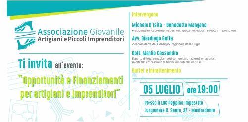 05.07.18 Incontro Opportunità E Finanziamenti Per Artigiani E Piccoli Imprenditori
