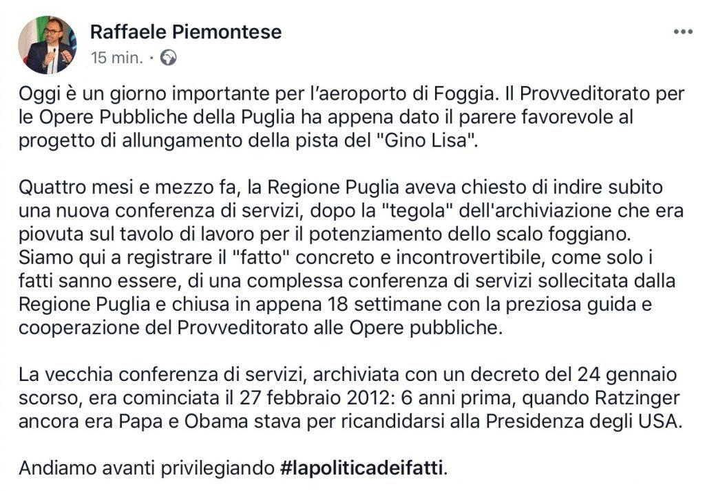Il post di Raffaele Piemontese