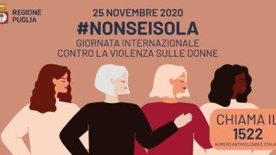 """Photo of """"Non sei sola"""", lo slogan della Regione Puglia per la Giornata contro la violenza sulle donne"""